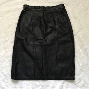 Winlit Vintage Black Leather Pencil Skirt 12